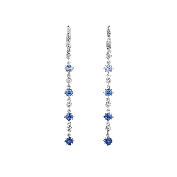 18K White Gold Sapphire and Diamond Dangle Drop Earrings