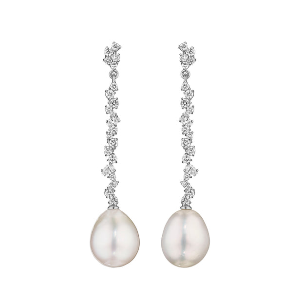 18K White Gold Stardust Collection Pearl and Diamond Drop Earrings