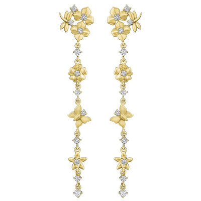 18K Yellow Gold Enchanted Garden Diamond Dangle Earrings