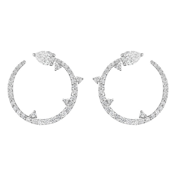 18K White Gold Constellation Diamond Hoop Earrings