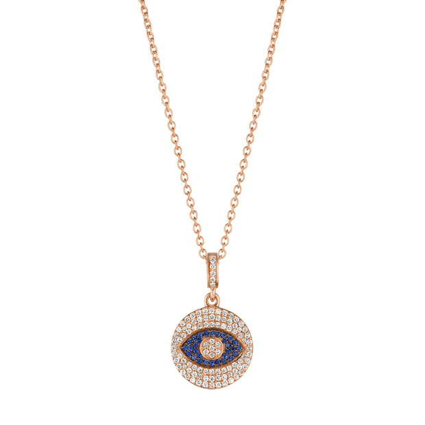 18K Rose Gold Sapphire and Diamond Evil Eye Pendant