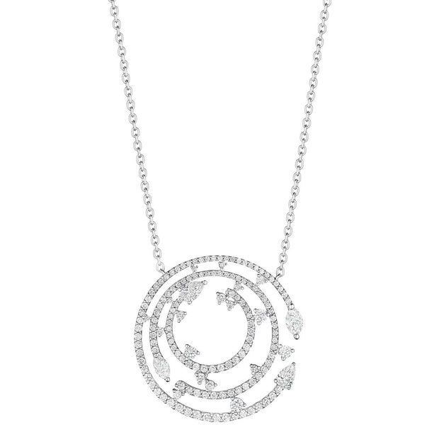 18K White Gold Constellation Collection Diamond Pendant Necklace