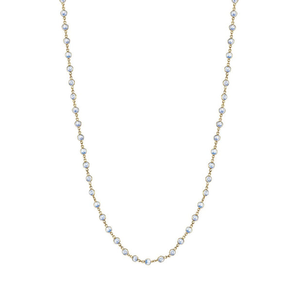 18K Yellow Gold Moonstone Eyeglass Chain Necklace