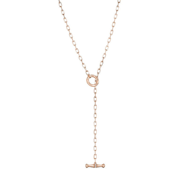 18K Rose Gold Diamond Lariat Necklace