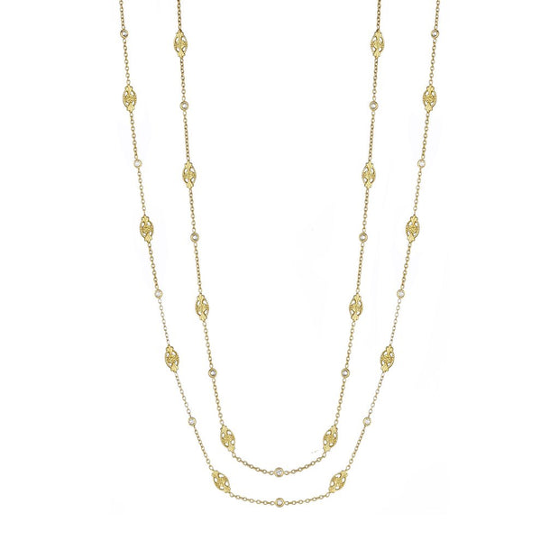 18K Yellow Gold Marquise Station Diamond Chain Necklace