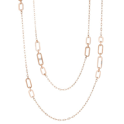 18K Rose Gold Diamond Link Necklace