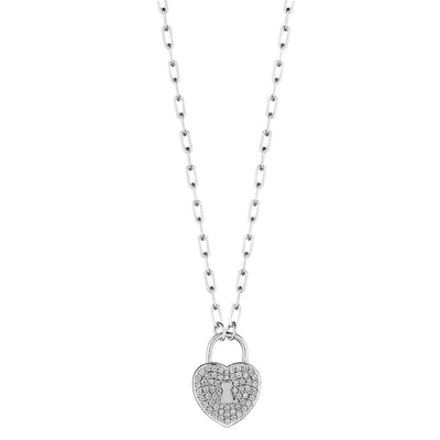 18K White Gold Heart Charm with Lock Diamond Pendant Necklace
