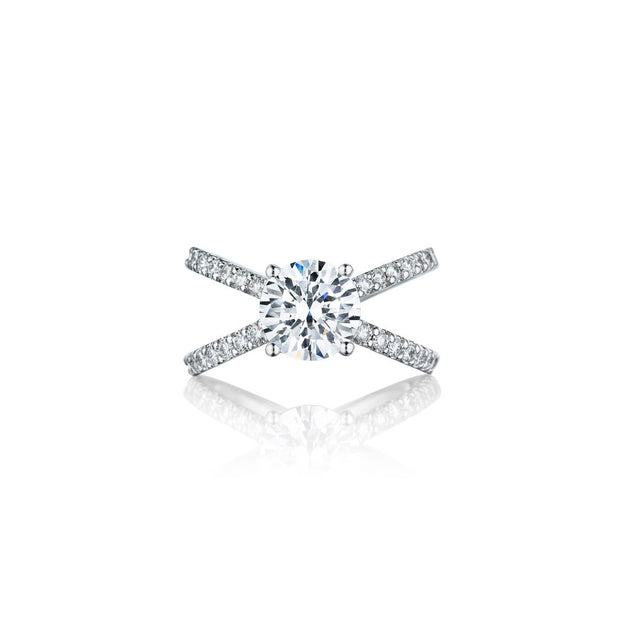 18K White Gold X Bridal Diamond Semi-Mounting
