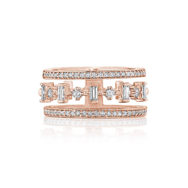 18K Rose Gold Moderne Deco Wide Cut-Out Diamond Band