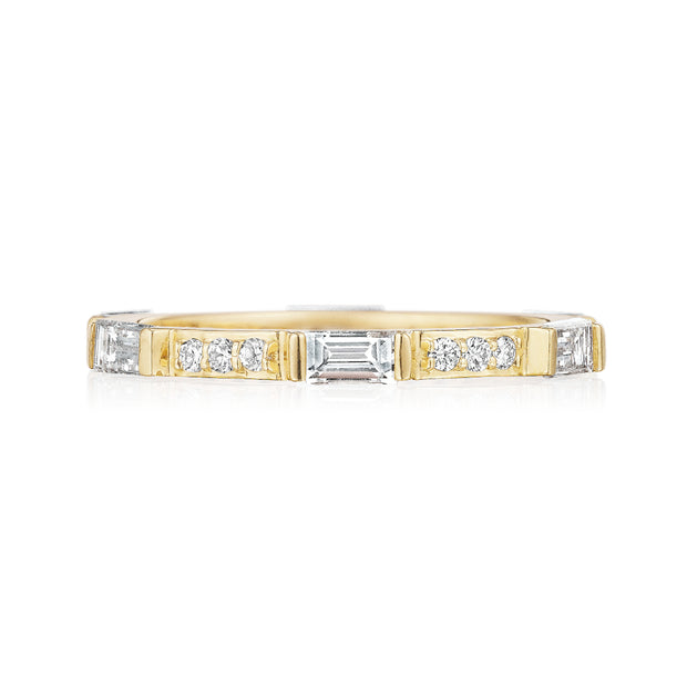 18K Yellow Gold Round and Baguette Diamond Eternity Band
