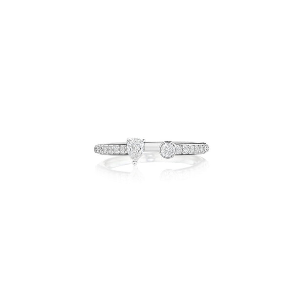 18K White Gold Constellation Collection Round and Pear Cut Diamond Open Band