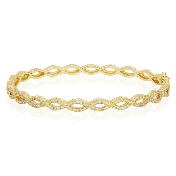 Penny Preville 18K Yellow Gold Infinity Bracelet with Round Diamonds