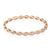 18K Rose Gold Infinity Bracelet With Round Diamonds