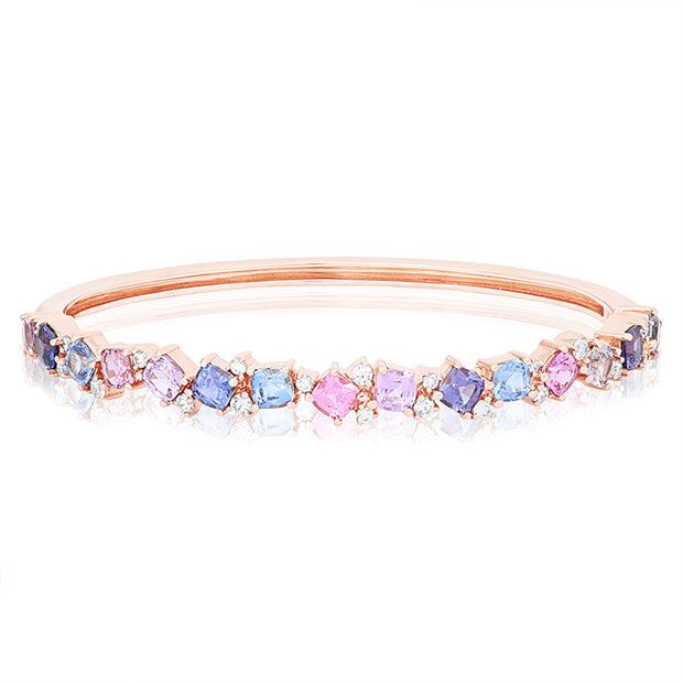 18K Rose Gold Bracelet With Rainbow Colored Sapphires and Round Diamond
