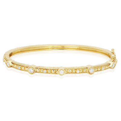 18K Yellow Gold Engraved Bracelet With Round Diamonds