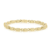 18K Yellow Gold Round and Square Station Diamond Line Bracelet