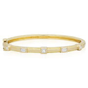 18K Yellow Gold Bracelet With Round, Baguette And Princess Cut Diamonds