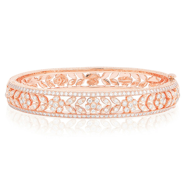 18K Rose Gold Floral and Leaf Diamond Bracelet