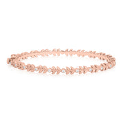 18K Rose Gold Petite Leaf Diamond Bangle