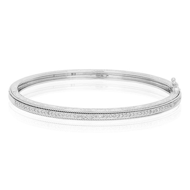 18K White Gold Diamond Hinged Bangle Bracelet