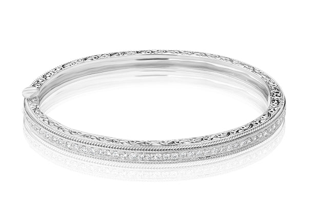 18K White Gold Round Diamond Bracelet With Rope Detail