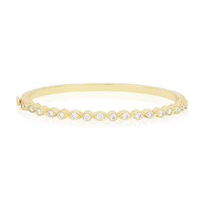 18K Yellow Gold Round and Marquise Station Diamond Bracelet