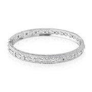 18K White Gold Marquise and Round Diamond Bangle Bracelet