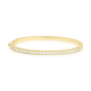18K Yellow Gold and Diamond Hand Engraved Thin Bangle
