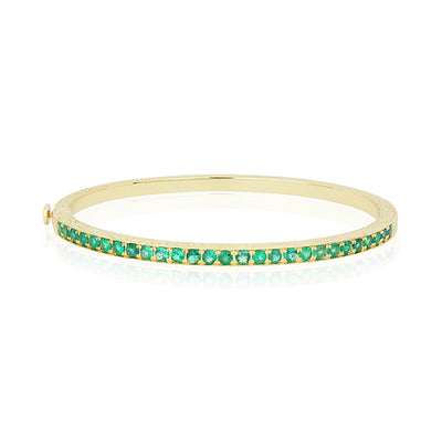 18K Yellow Gold Engraved Emerald Bracelet