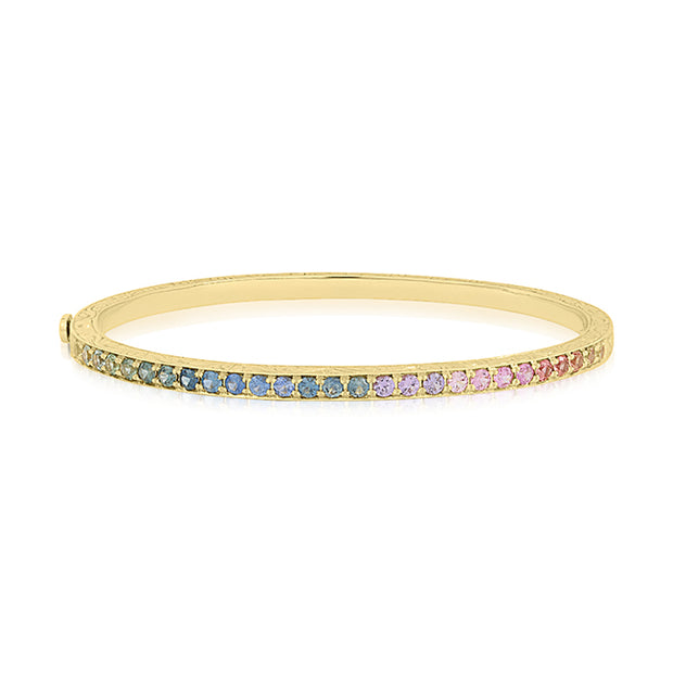 Yellow Gold Watercolor Bangle with Rainbow Colored Sapphires