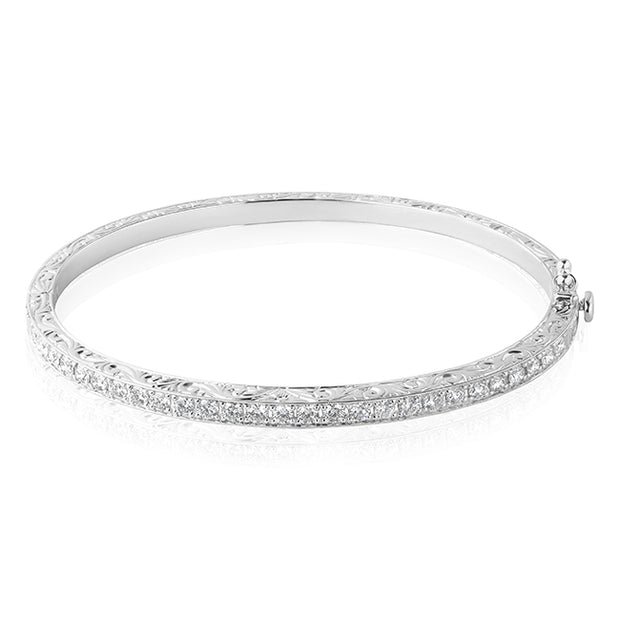 18K White Gold Engraved Round Diamond Bracelet