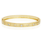 18K Yellow Gold Round and Square Station Round Diamond Bracelet
