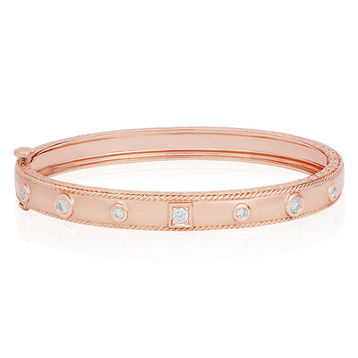 18K Rose Gold Round and Square Station Diamond Bracelet
