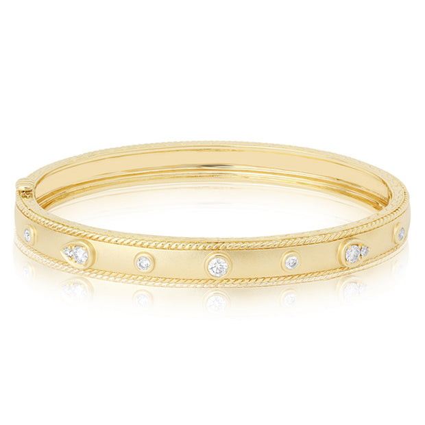 18K Yellow Gold Stacking Diamond Bangle