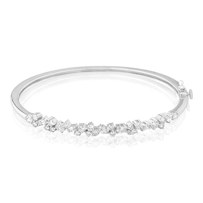 18K White Gold Stardust Bracelet with Various Shaped Diamonds