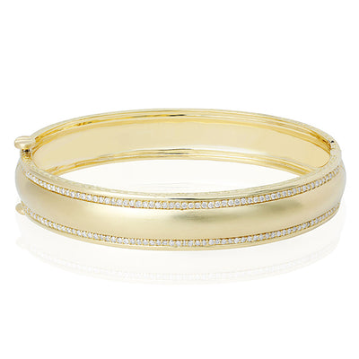 Yellow Gold Engraveable Bracelet with Diamonds