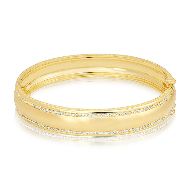 Yellow Gold Wide Engravable Bangle with Diamonds