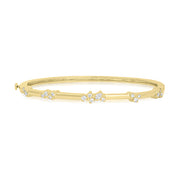 Yellow Gold Stardust Cluster Station Bangle with Diamonds