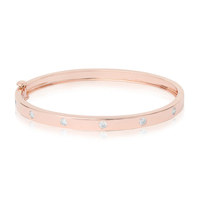 18K Rose Gold Moderne Deco High Polished Diamond Bracelet