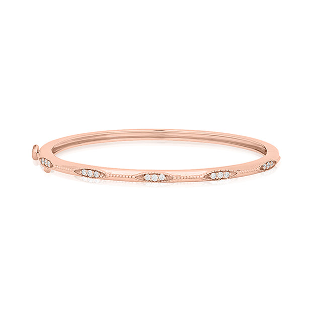 18K Rose Gold Marquise Station Diamond Bangle