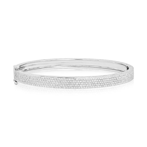 18K White Gold and Diamond 5 Row Bangle Bracelet
