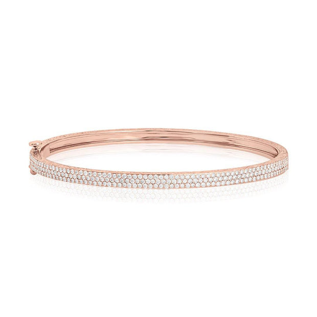 18K Rose Gold Moderne Deco Bangle Braclet with Diamonds