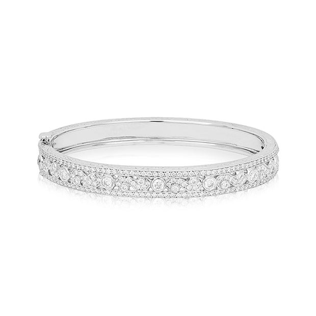 18K White Gold Diamond Bangle Bracelet with Scroll Design