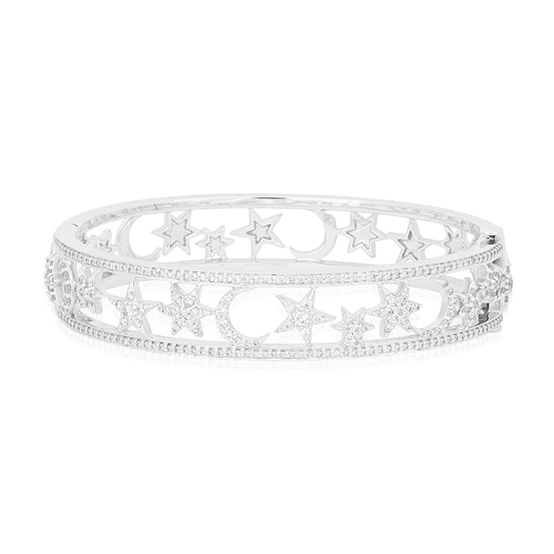 18K White Gold Moon And Star Diamond Bracelet