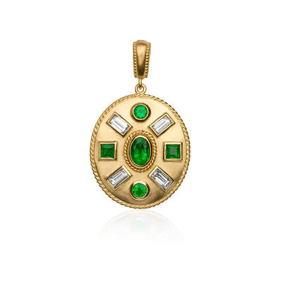 18K Yellow Gold Diamond and Emerald Pendant