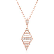 18K Rose Gold Deco Collection Round and Baguette Diamond Pendant