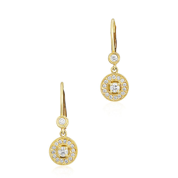 18K Yellow Gold Round Diamond Drop Earrings