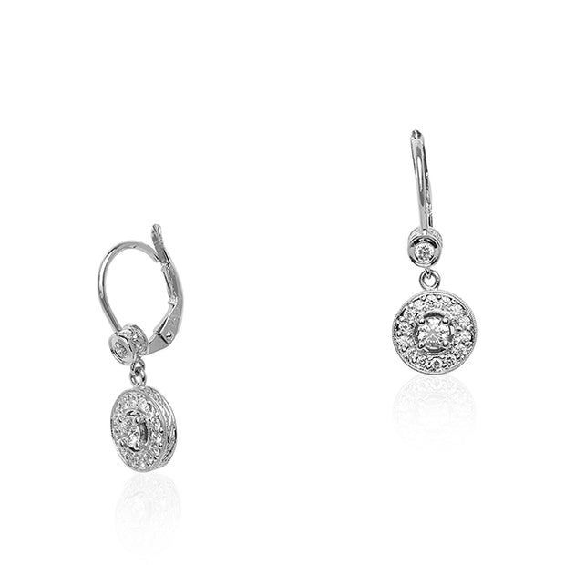 Penny Preville 18K White Gold Diamond Dangle Earrings