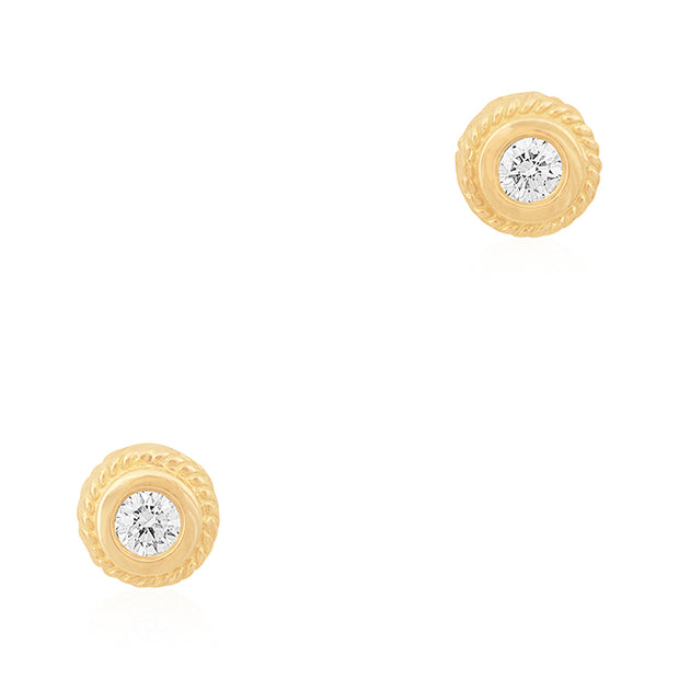 18K Yellow Gold Bezel Diamond Stud Earrings