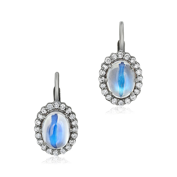 18K White Gold Earrings with Moonstone and Diamonds